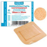 Лейкопластырь 3,8х3,8 см Мастер Юни бактерицид, телесный