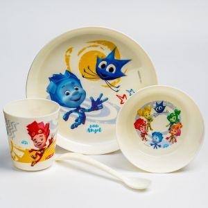 и9 Набор дет.посуды ФИКСИКИ (тарел 450мл миска 430мл стак 270мл лож)